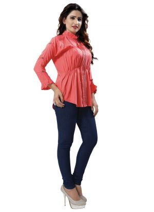 New Arrival Rayon Red Color Top For Ladies
