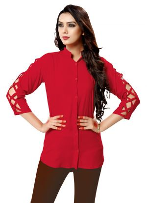 New Arrival Red Color Women Shirt Fashion