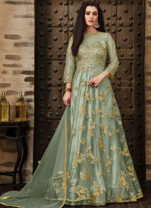 New Arrival Sage Color Designer Anarkali Long Salwar Suit