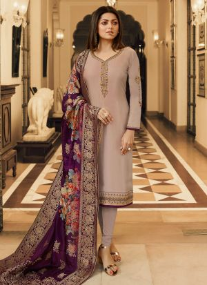 New Arrival Satin Georgette Beige Churidar Suit For Bridesmaids