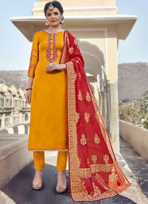 New Arrival Satin Georgette Yellow Straight Cut Suit For Ceremony
