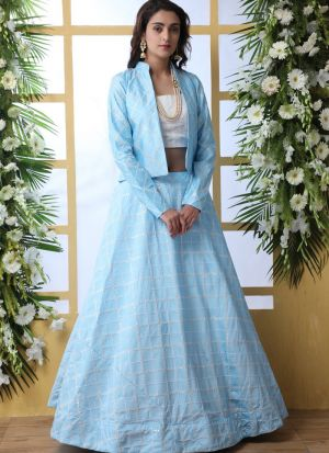New Arrival Sky Blue Art Silk Lehenga Choli With Dupatta
