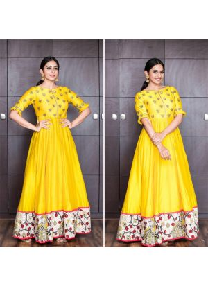 New Arrival Yellow Anarkali Style Gown Pink Lawn Patiyala Salwar Suits