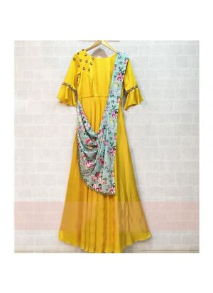 New Arrival Yellow Ladies Gown Style Dress