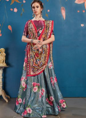 New Arrivals Check Out The Grey Art Silk Lehenga Choli