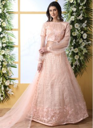 New Arrivals Check Out The Peach Net Lehenga Choli