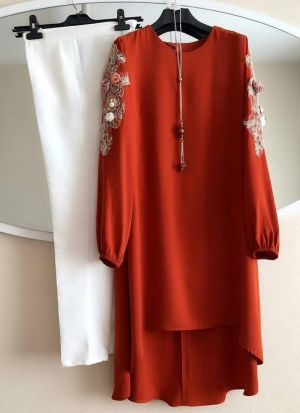 New Attire Baby Orange Color Top With Pant Set
