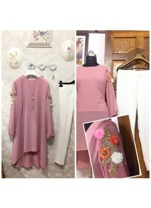 New Attire Baby Pink Color Top With Pant Set