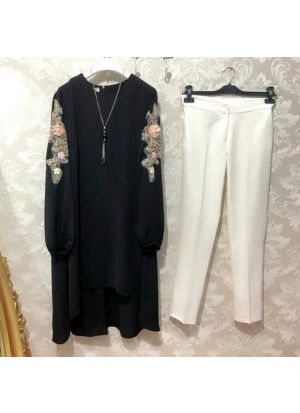 New Attire Black Color Top With Pant Set