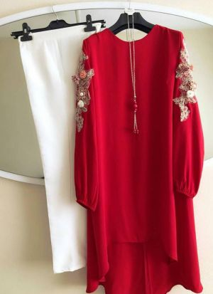 New Attire Crimson Red Color Top With Pant Set