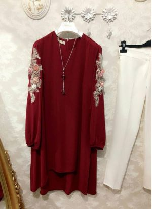 New Attire Maroon Color Top With Pant Set