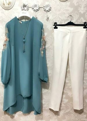 New Attire Teal Blue Color Top With Pant Set