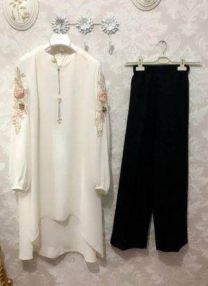 New Attire White Color Top With Pant Set