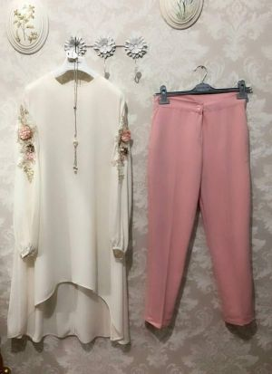 New Attire White Colour Top With Pant Set
