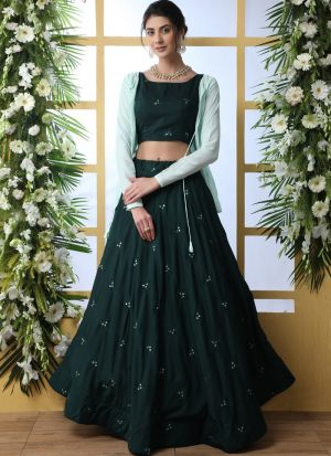 New Dark Green Arrival Elegant Look Maslin Cotton Lehenga Choli