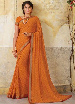 New Design Georgette Orange Designer Saree