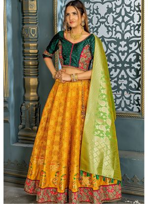 New Fancy Traditional Fire Yellow Banarsi Silk Lehenga Choli