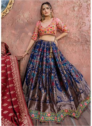 New Fancy Traditional Navy Banarsi Silk Lehenga Choli