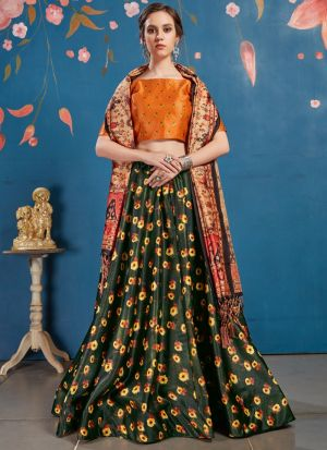 New Green Arrival Elegant Look Art Silk Lehenga Choli