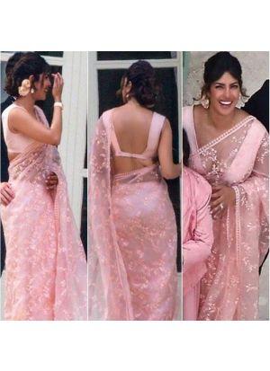 New Indian Bollywood Party Wear Priyanka Baby Pink Saree