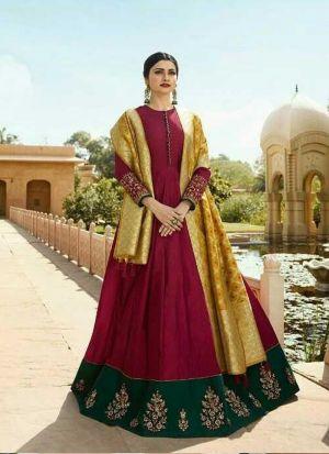 New Indian Traditional Look Magenta Jenny Silk Salwar Kameez