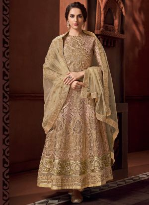 New Launching Beige Net Wedding Wear Anarkali Suit