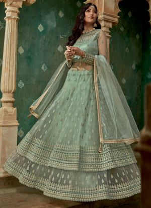 New Launching Green Net Bridal Wear Lehenga Style Dress
