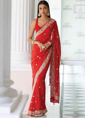 New Launching Superhit Designer Bamberg Georgette Red Bollywood Celebrity Saree