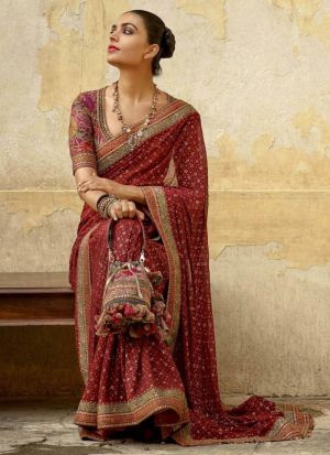 New Launching Superhit Designer Maroon Bollywood Saree Collection