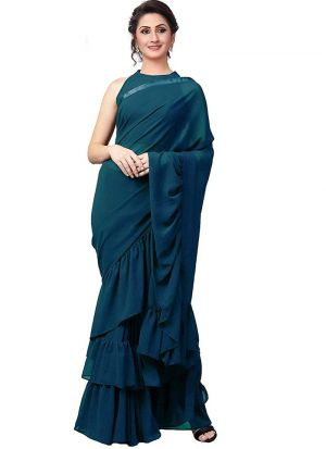 New Launching Teal Blue Vichitra Silk Party Wear Ruffle Saree
