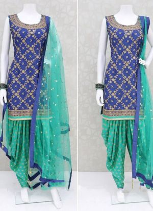New Royal Blue Digital Print Patiala Style Salwar Suit