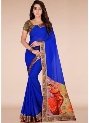 Newly Launched Blue Georgette Printed Classic Designer Saree
