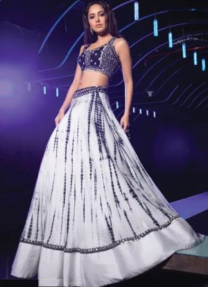 Nushrat Bharucha Black Classic Digital Printed Festive Wear Lehenga