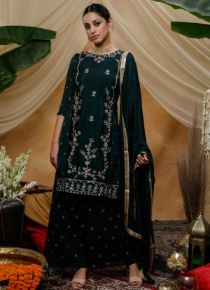 Occasion Wear Green Chinon Eid Special Pakistani Salwar Suit
