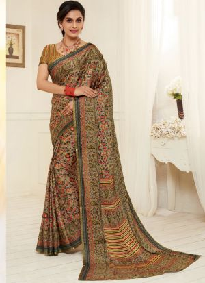 Occasion Wear Multi Color Satin Georgette Saree For Festive