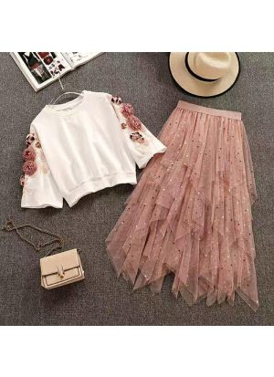 Off White And Peach Crop Top With Skirt Set