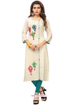 Off White Color Regular Casual Wear Ethnic Kurti