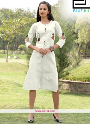 Off White Gaju Kurti Embroidery Work With Fancy Button