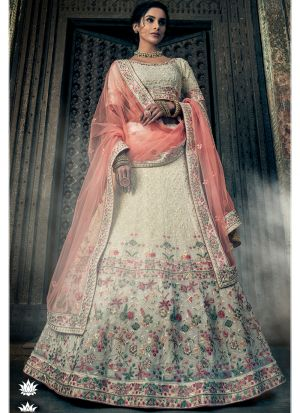Off White Georgette Latest Designer Lehenga Choli