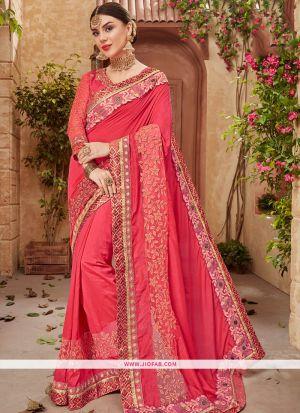 Old Rose Georgette Chiffon Wedding Designer Saree