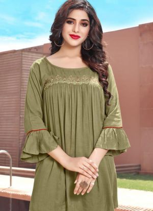 Olive Colour Ethnic Top With Beautiful Embroidery