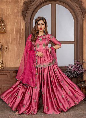 Onion Pink Malai Satin Sharara Style Salwar Suit