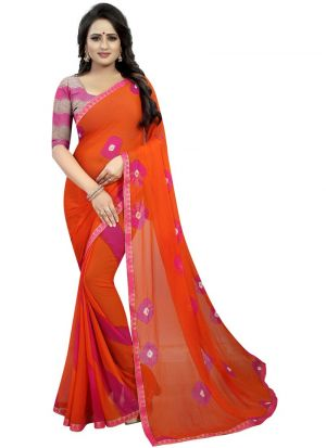 Orange And Pink Chiffon Saree With Blouse