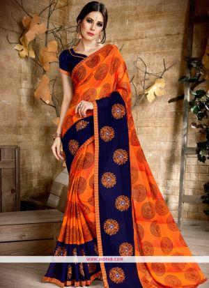 Orange Georgette Wedding Designer Saree