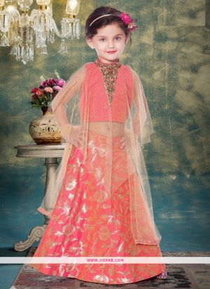 Orange Jacquard Indian Ethnic Wear Lehenga Choli For Kids Girl
