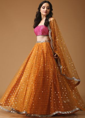 Orange Lehenga Choli Foil Printed Fancy Thread Work With Mono Net Dupatta