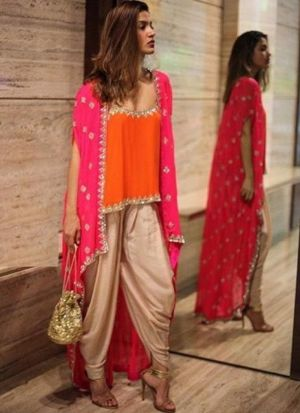 Orange New Arrival Of Special Dhoti Style Dress With Shrug Collection For Festival