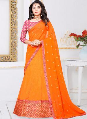Orange Sana Silk Zari Work Designer Lehenga Choli