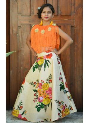 Orange Silk Lehenga Choli For Kids Girl
