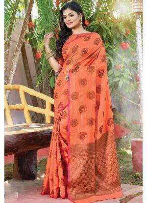 Orange South Indian Cotton Handloom Designer Saree